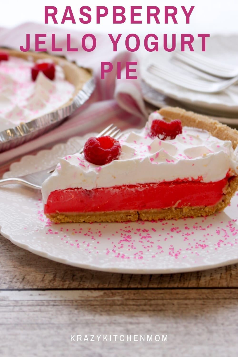 Raspberry Jello Yogurt Pie is the easiest pie you will ever make. Jello, water, and Greek yogurt are all you need to make the creamy smooth thick filling.  via @krazykitchenmom