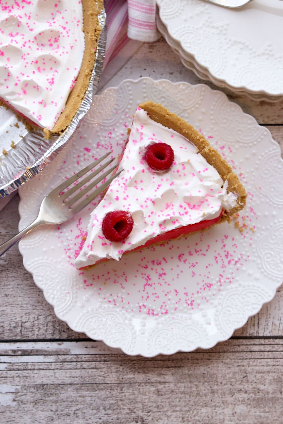 1 slice of Raspberry Jello Yogurt Pie