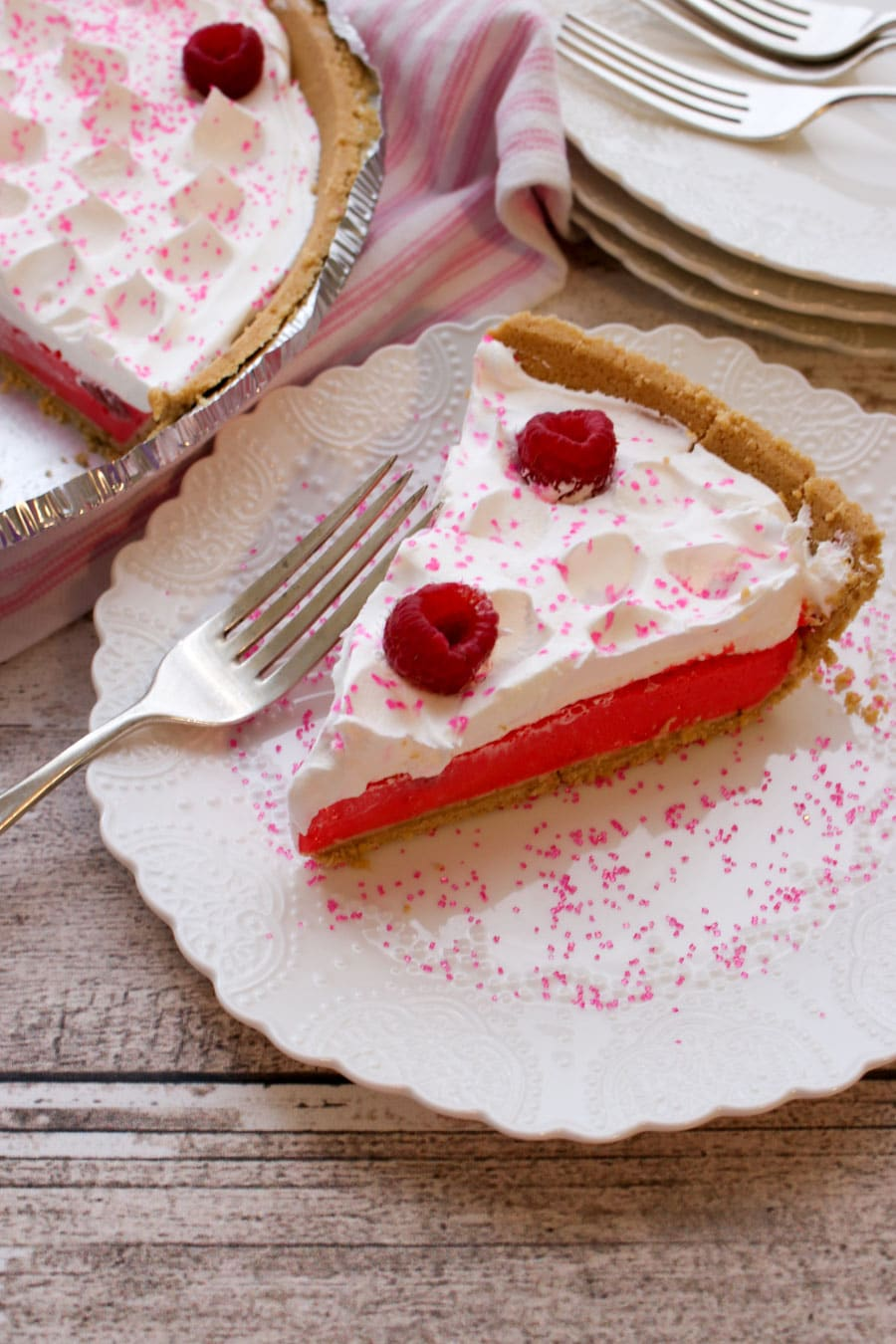 Slice of Raspberry Jello Yogurt Pie