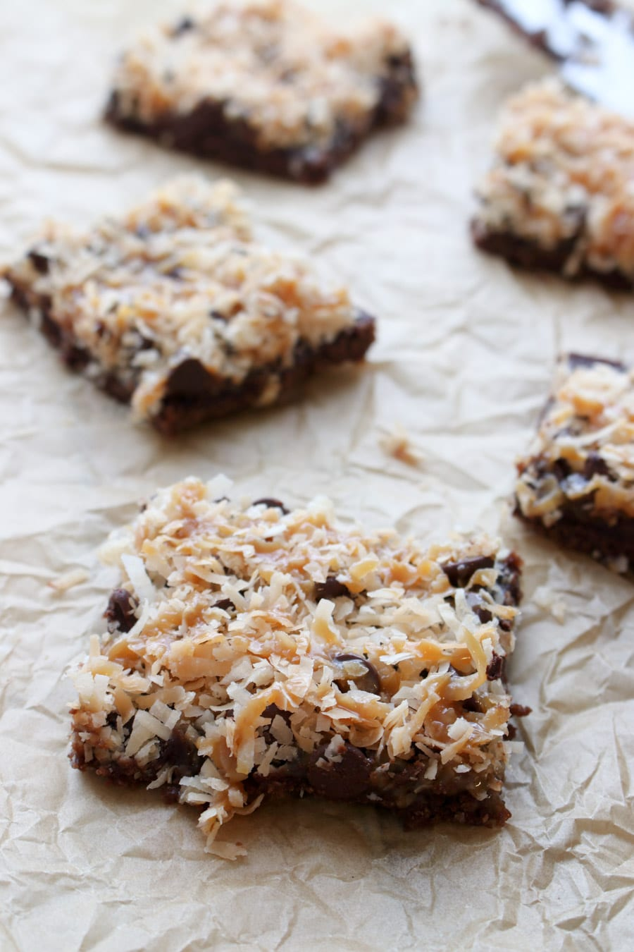 Caramel Coconut Samoa Brownies on parchment paper
