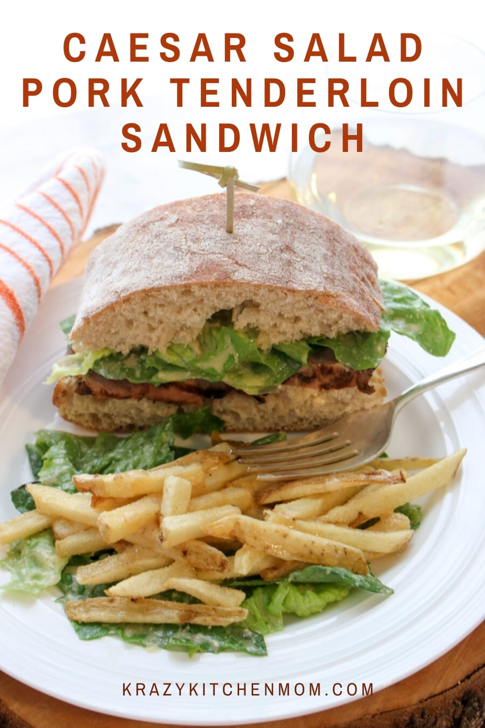 Caesar Salad Pork Tenderloin Sandwiches - Marinated, seared and roasted pork tenderloin on a ciabatta roll, topped with a classic caesar salad.  via @krazykitchenmom