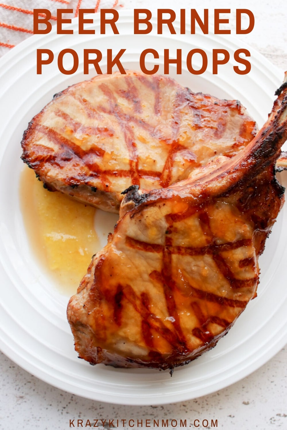 Beer Brined Pork Chops are made with bone-in pork chops marinated in spices, vinegar, Worcestershire sauce, and Lager Beer. via @krazykitchenmom