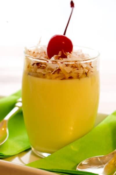 Close up shot of pineapple jello parfait