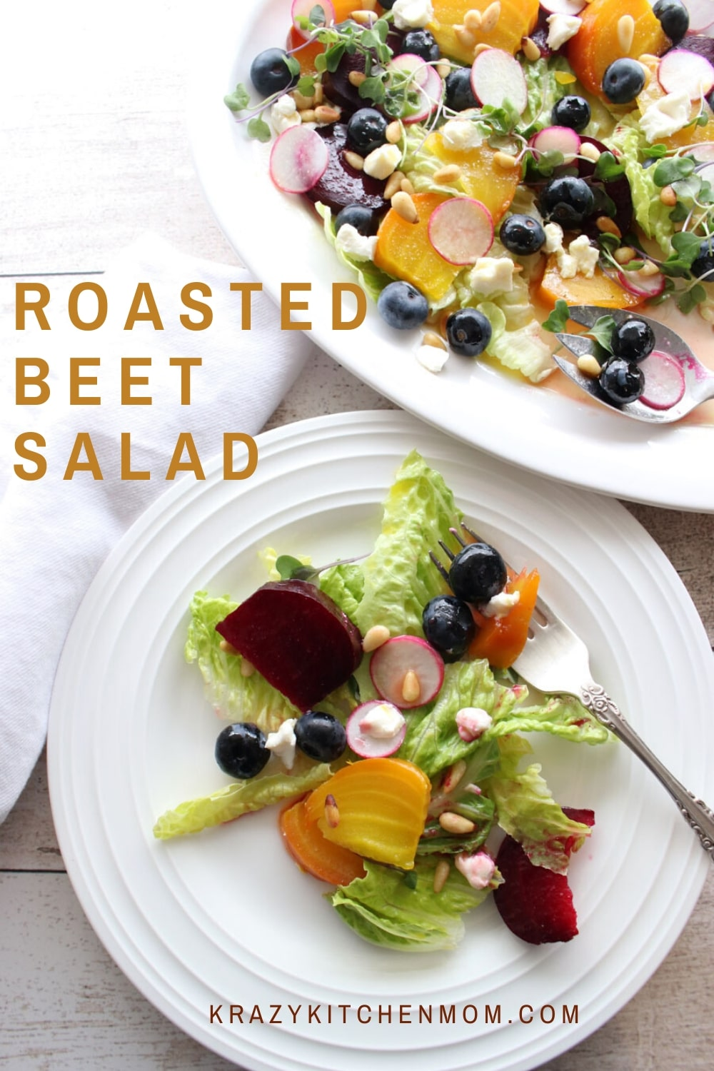 Roasted Beet Salad with Goat Cheese is a healthy and beautiful way to pick up your salad game. Toss it with a fresh bright vinaigrette for a winning taste sensation. via @krazykitchenmom