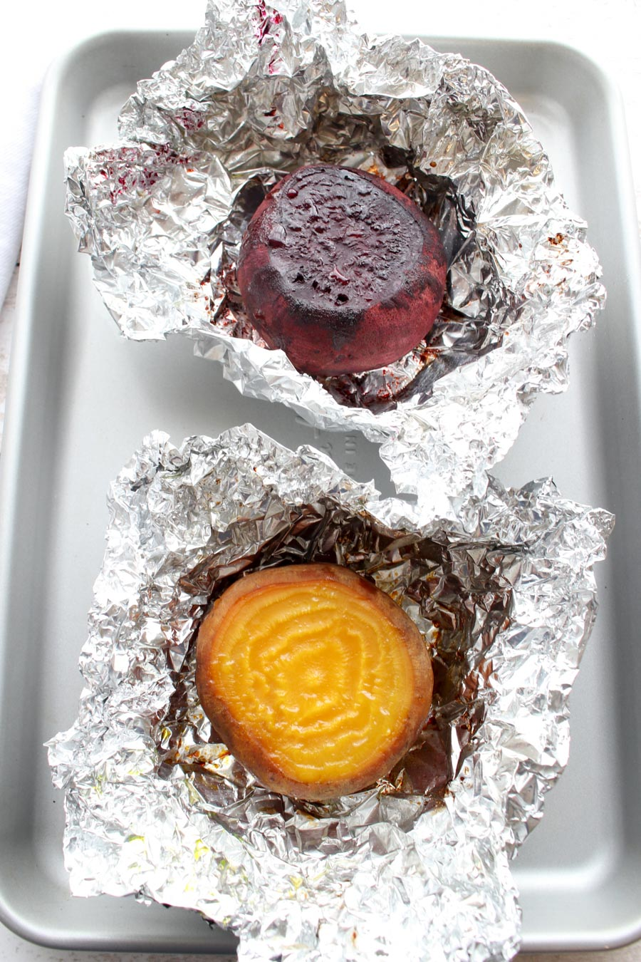 1 roasted red beet and 1 roasted yellow beet