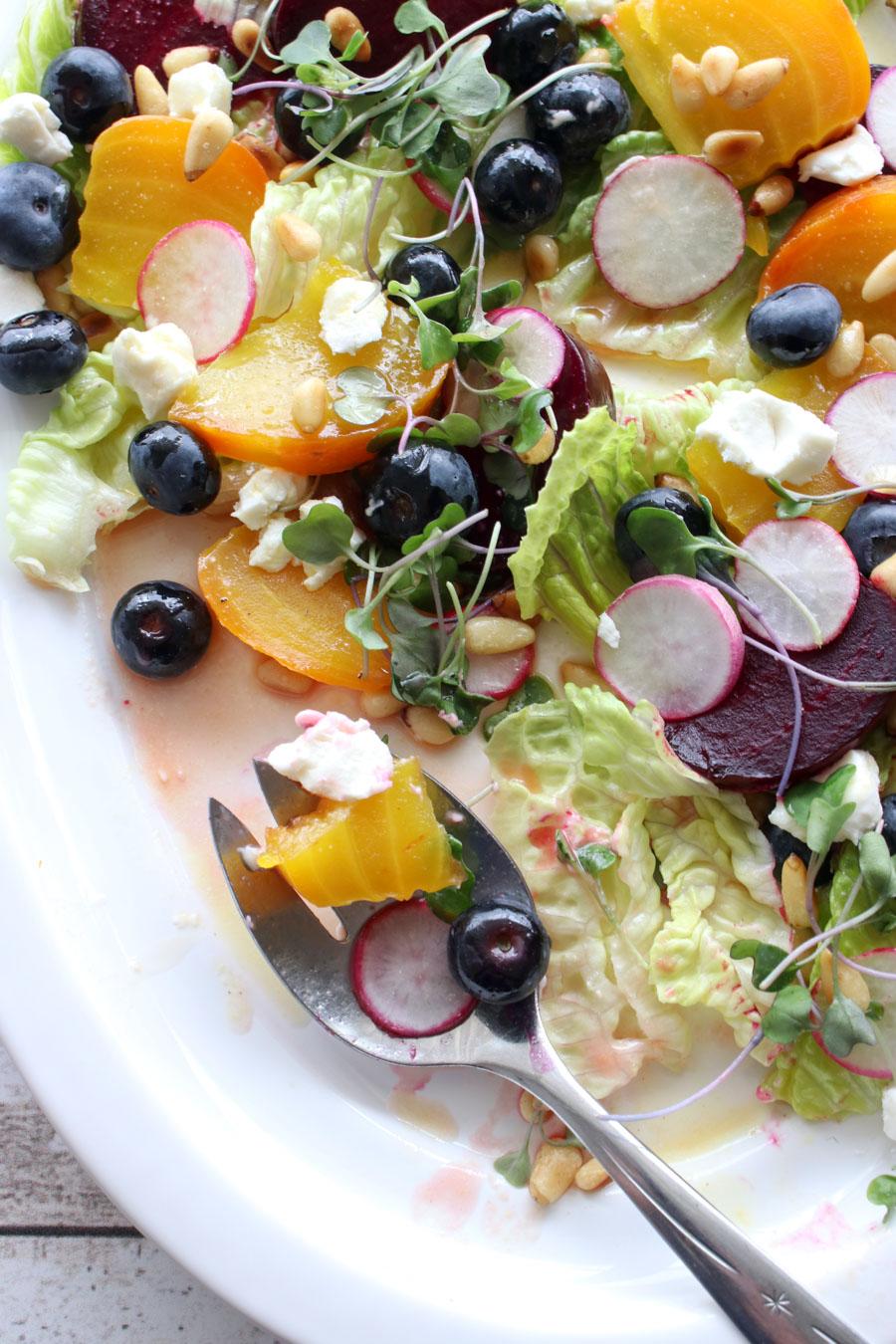 Beet salad on a serving platter