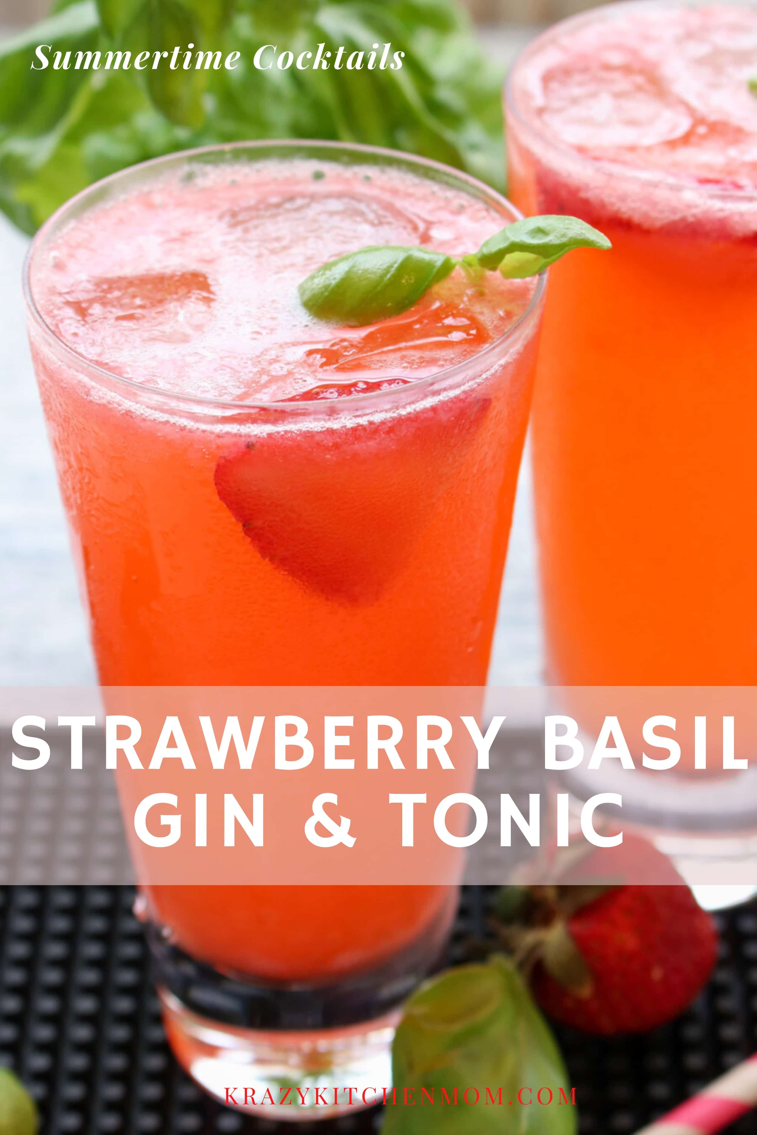 Summertime refreshing cocktail that is sweet from the strawberries, pleasingly pungent from the fresh basil, and fizzy from the tonic water. via @krazykitchenmom