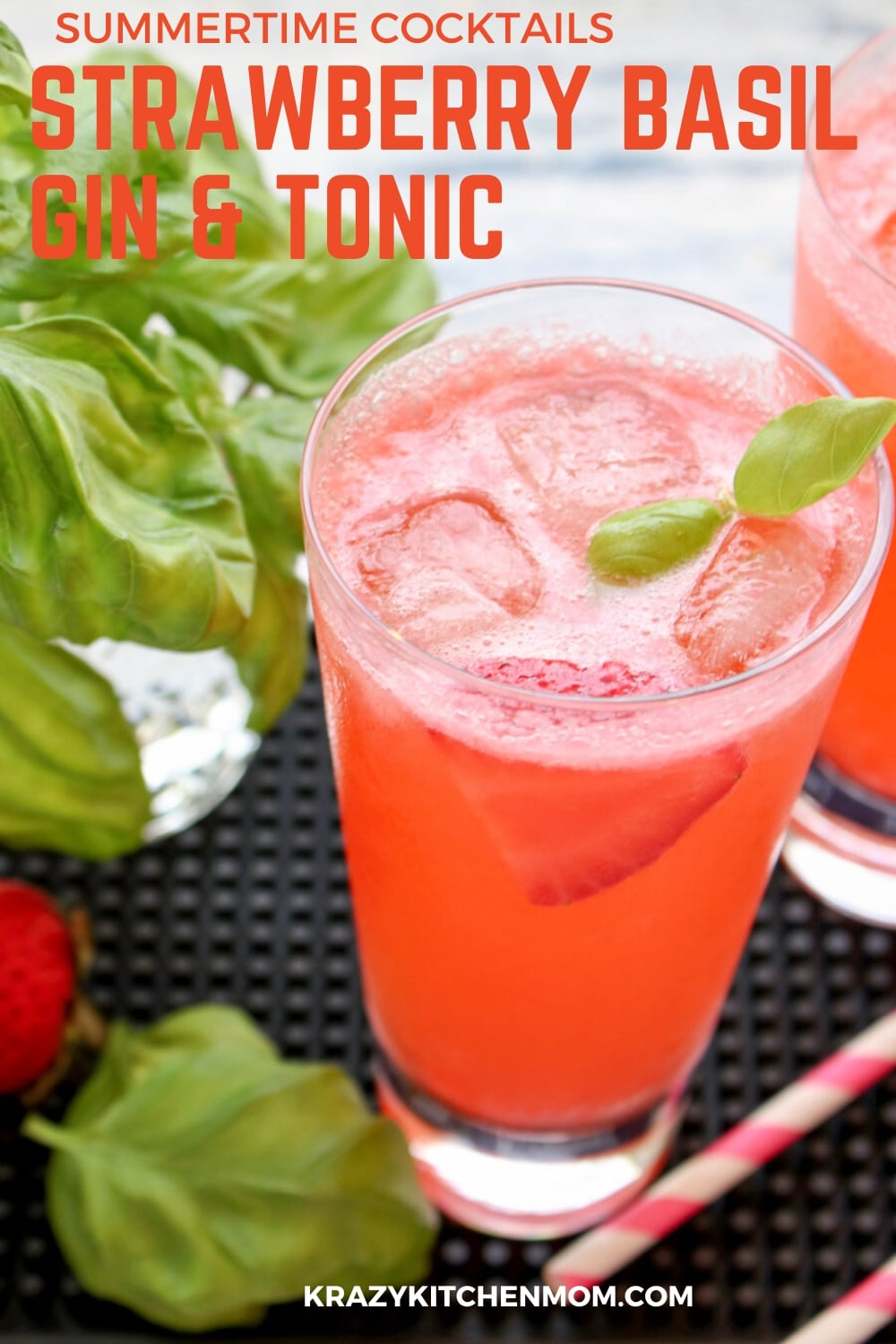 STRAWBERRY BASIL GIN AND TONIC - Refreshing, sweet from the strawberries, pleasingly pungent from the fresh basil, and fizzy from the tonic water. via @krazykitchenmom