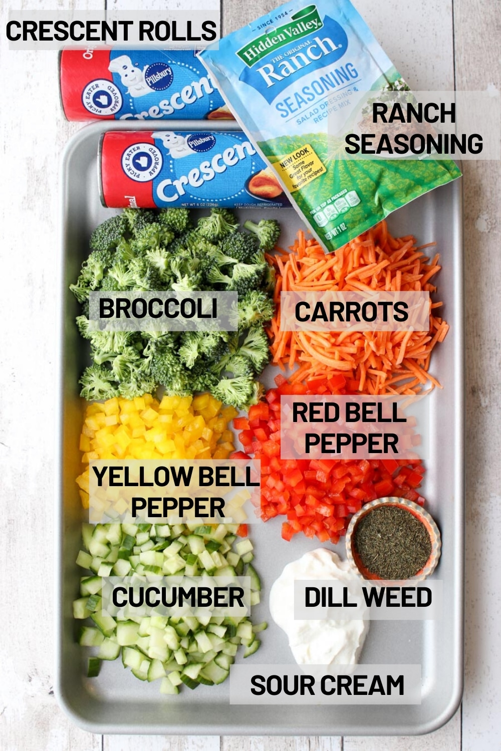 Visual showing all of the ingredients needed to make veggie pizza