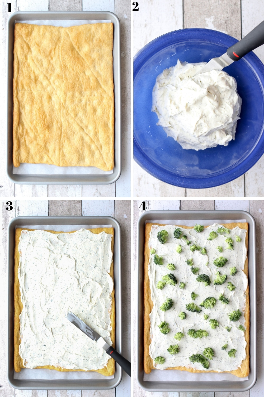visual showing the first four steps of making this recipe
