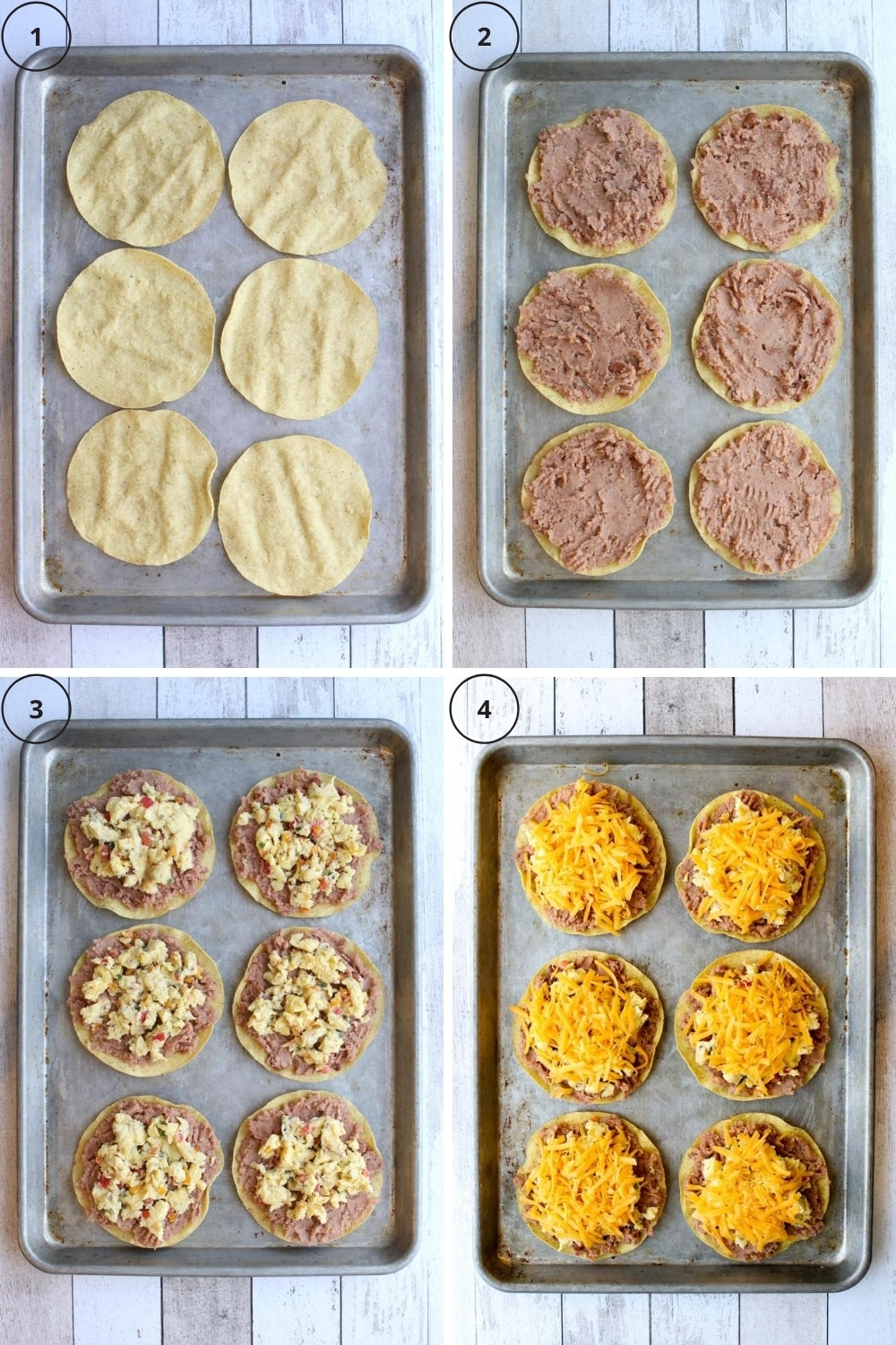 Photo of steps to assemble and bake breakfast tostadas