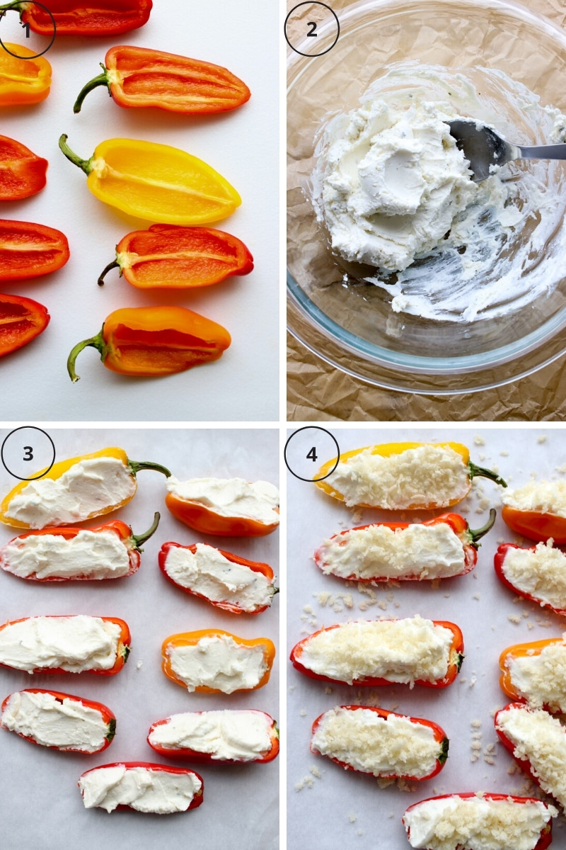 four photos of the steps to make the Boursin stuffed mini pepper recipe