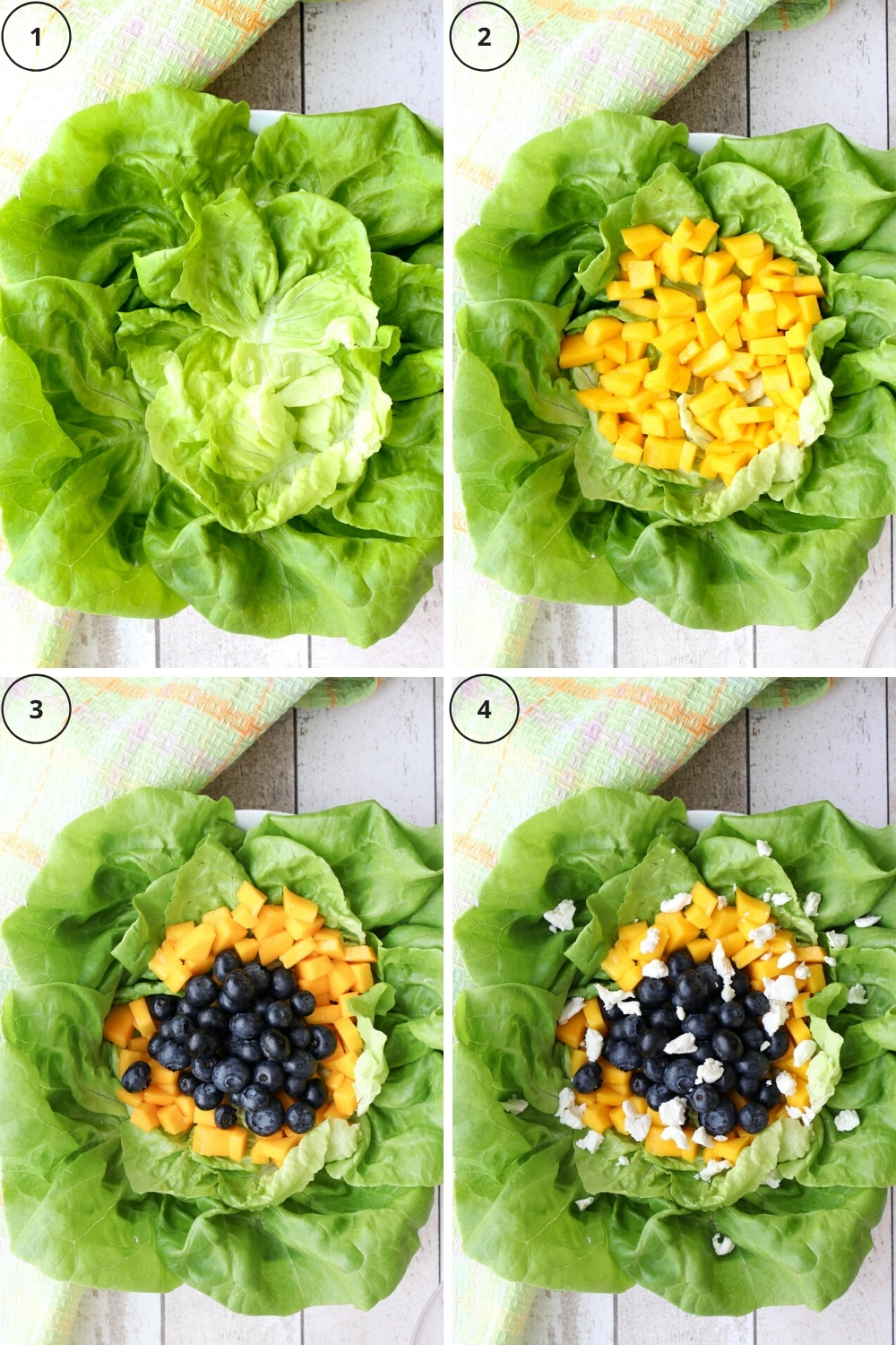 four photos showing how to make the salad
