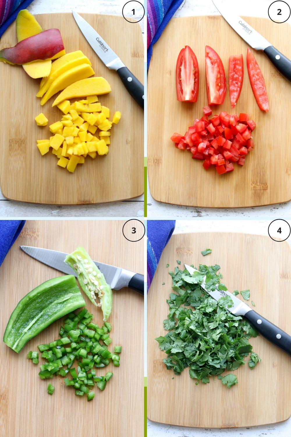 Four photos showing how to chop mangos, tomatoes, jalapeños, and cilantro