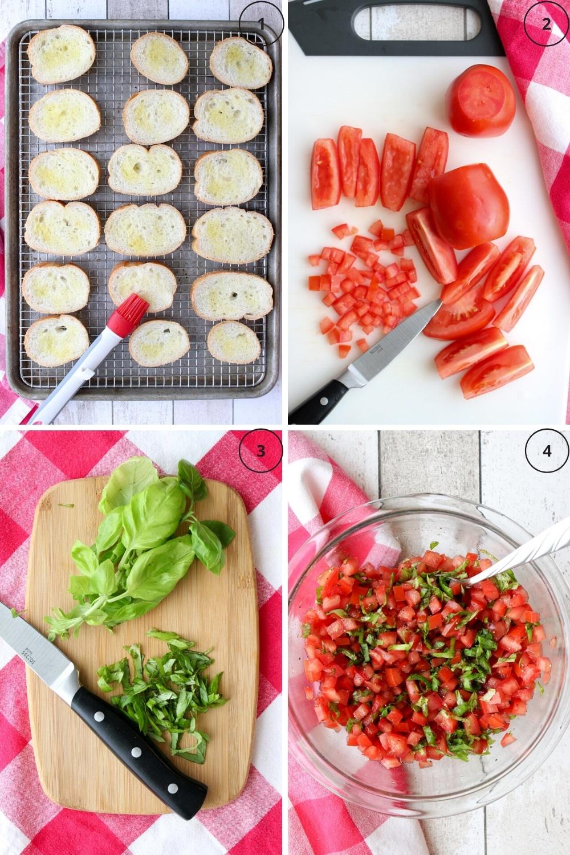 Photo showing the steps to make homemade bruschetta