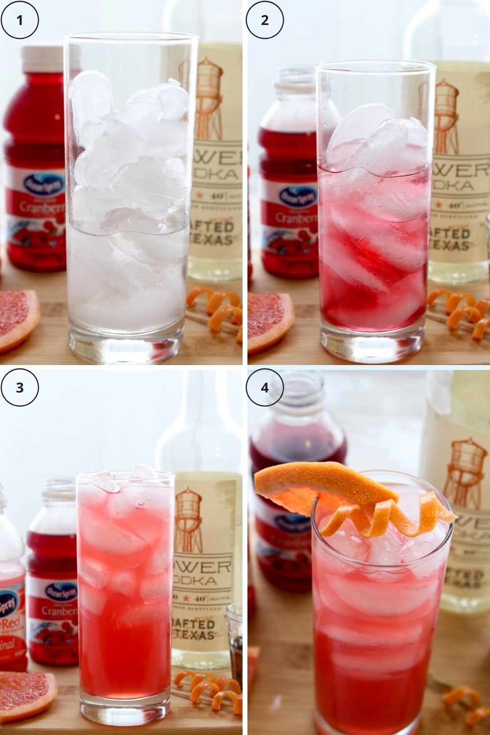 photo showing four steps to make a sea breeze cocktail