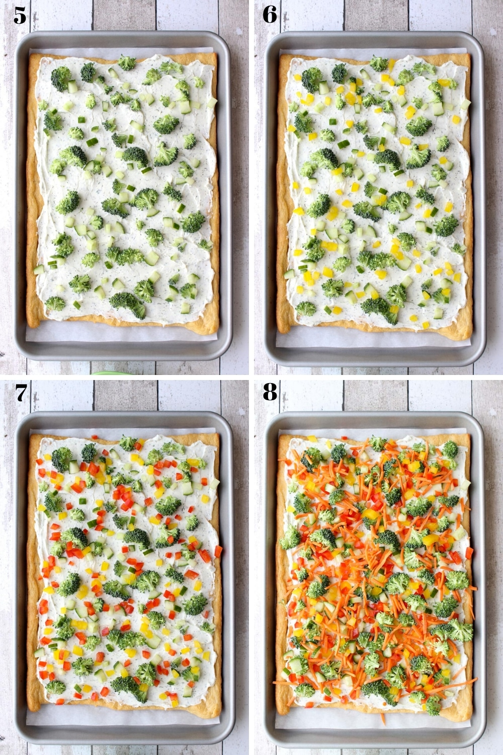 Visual showing steps 5-8 of making veggie pizza