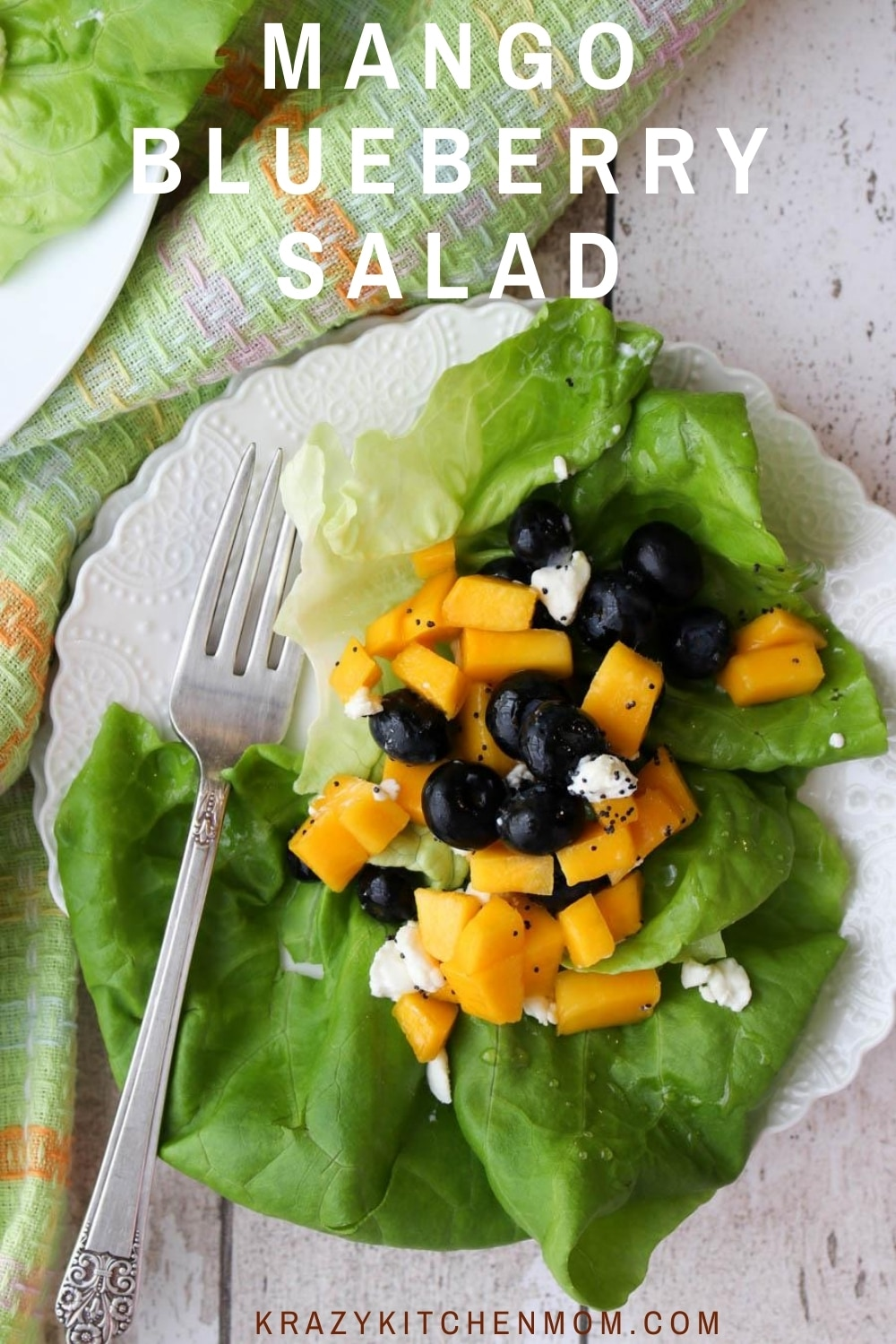 This salad is as beautiful to look at as it is to eat.  The freshness jumps off the plate with the bright juicy fruits and the tart goat cheese drizzled lightly with vinegar and olive oil.  via @krazykitchenmom