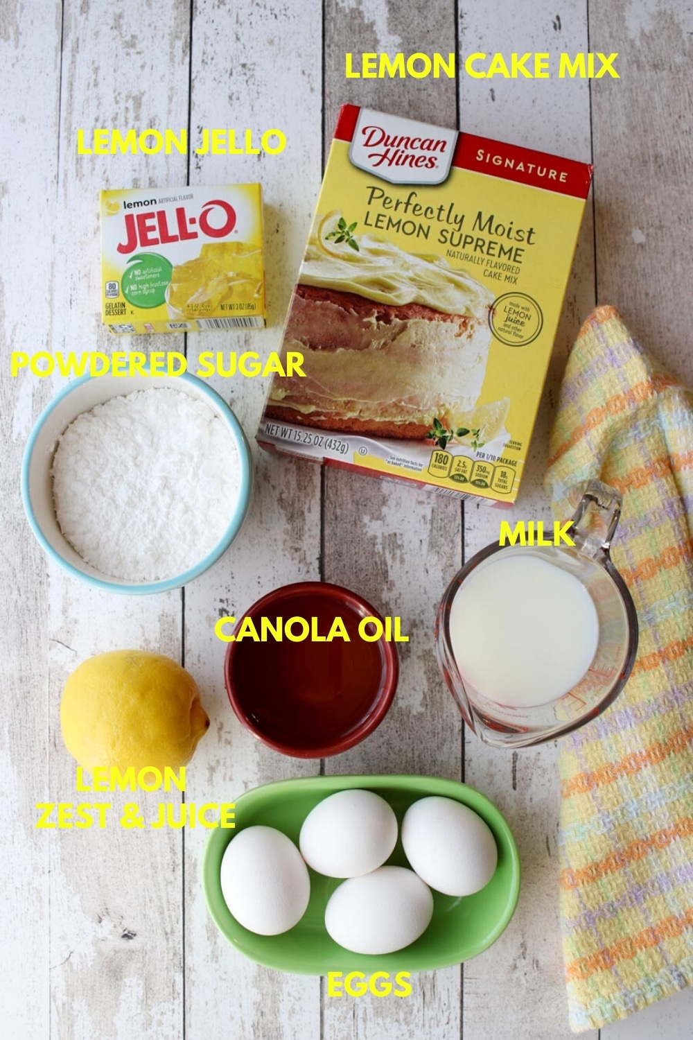 Photo showing all of the lemon bundt cake ingredients