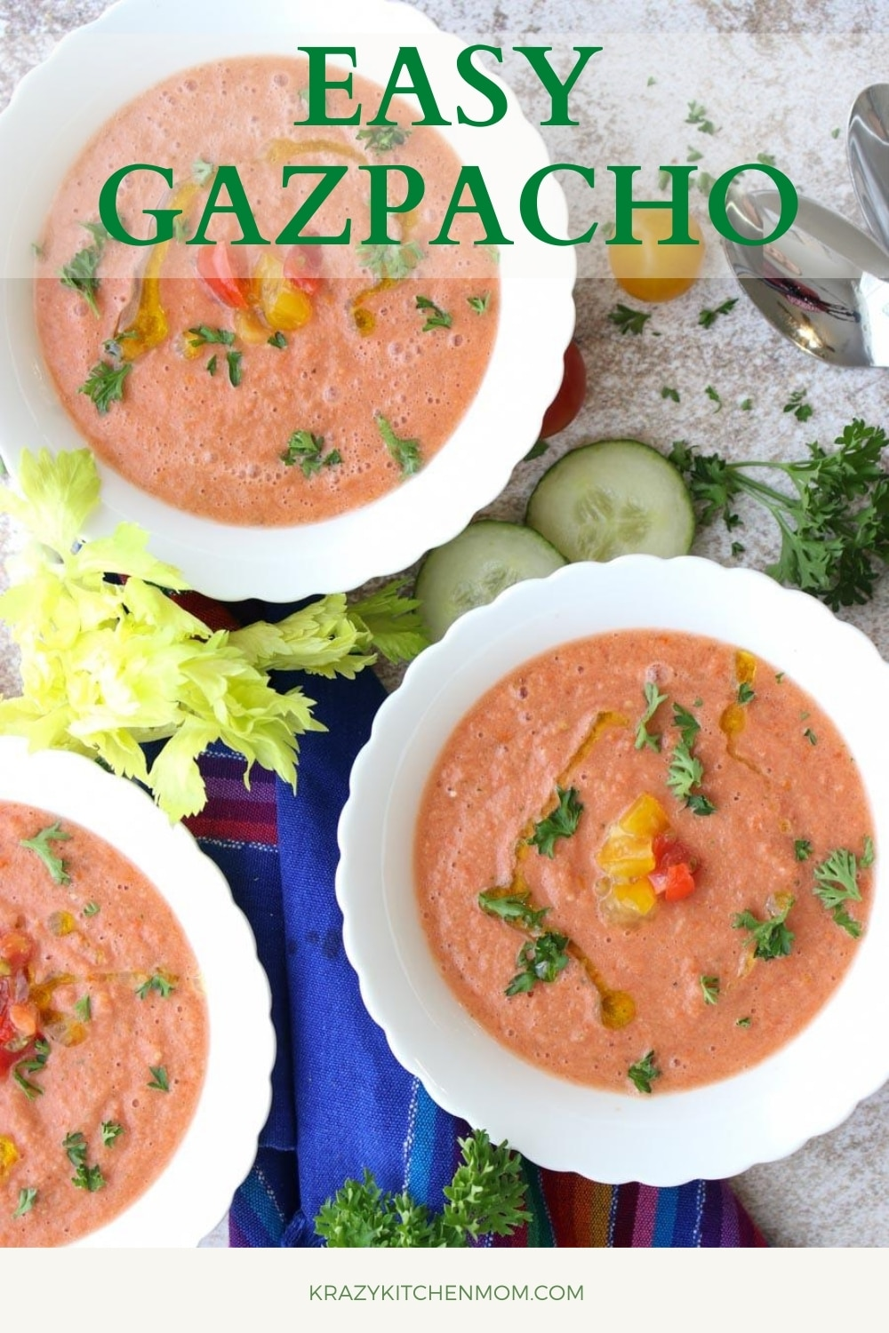 Ripe summer tomatoes are everywhere this time of the year. Grab your favorites and make my easy gazpacho recipes in minutes! It's fresh, cool, creamy, and simply a flavor explosion!  via @krazykitchenmom