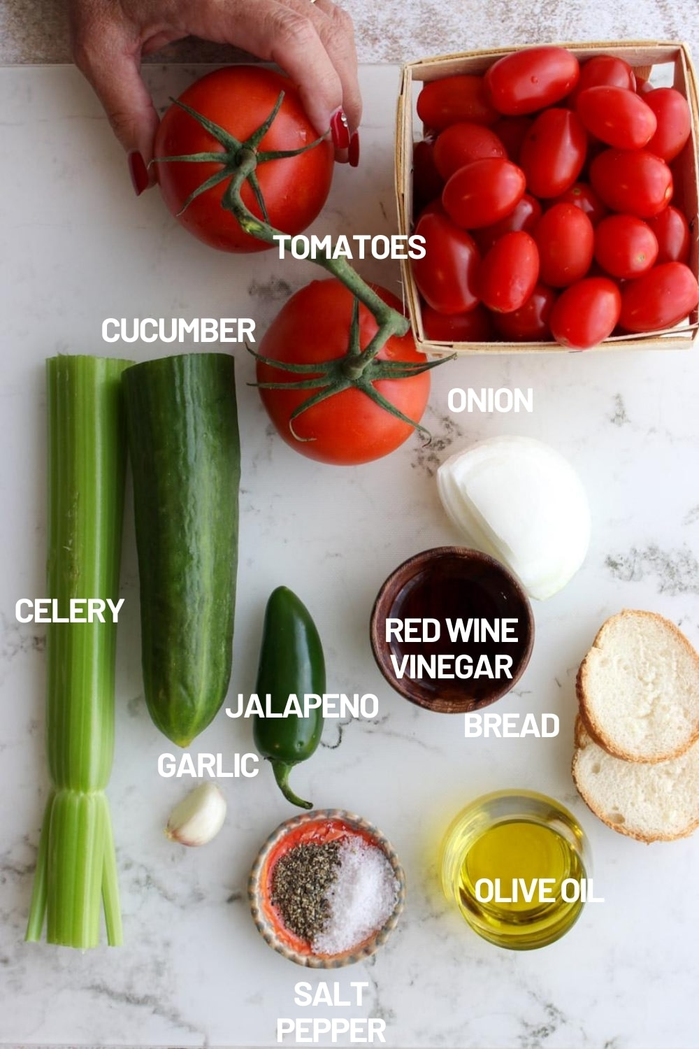 Photo of all of the gazpacho ingredients