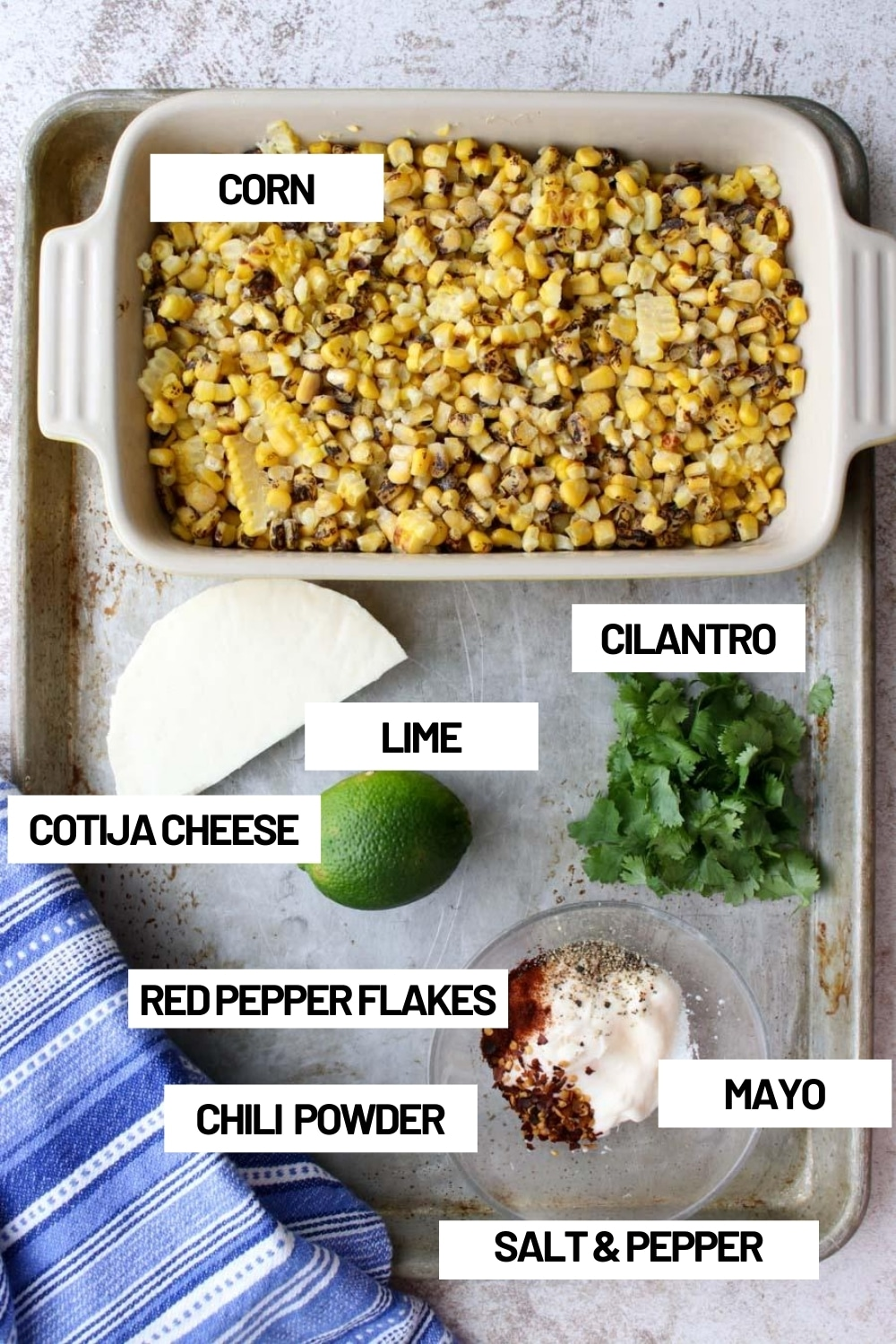 Photo of all of the ingredients in Mexican Street Corn