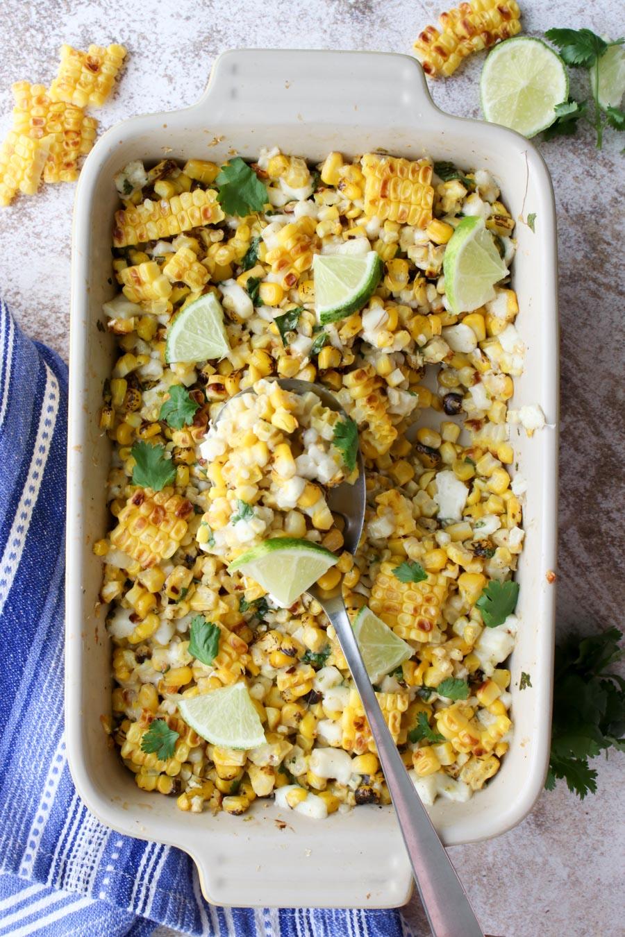 Mexican Street Corn Casserole in a casserole dish