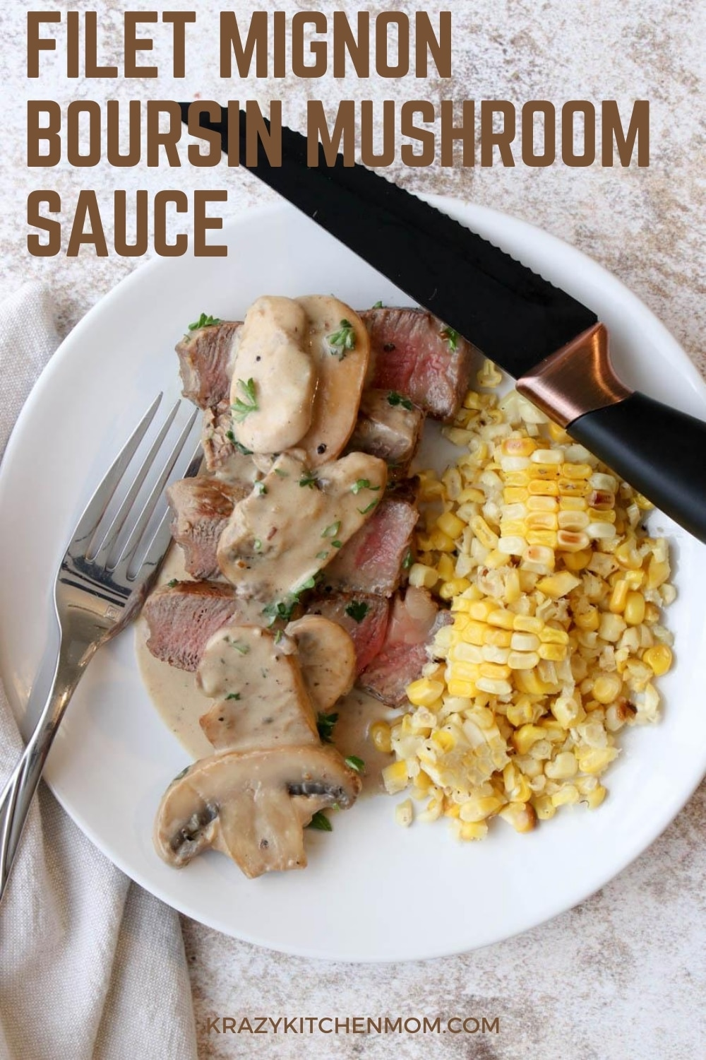 Tender filet mignon steaks smothered in a creamy, rich mushroom sauce with hints of sweet tanginess and garlic. This is a steak meal that you'd expect to find in a fancy restaurant but it's really super simple to make.  via @krazykitchenmom