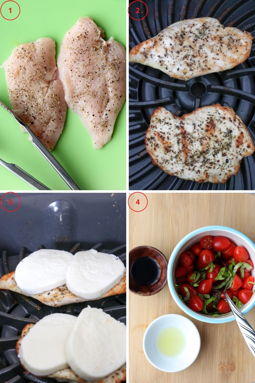 Photo showing the steps to make grilled chicken capers