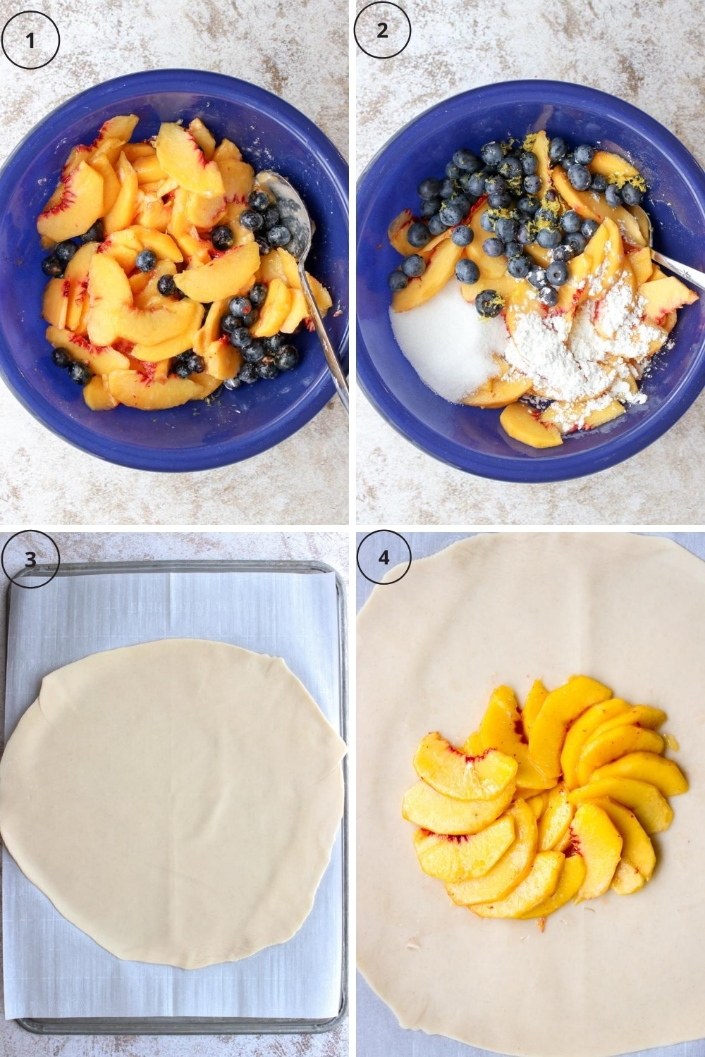 Photo showing first four steps to make the galette