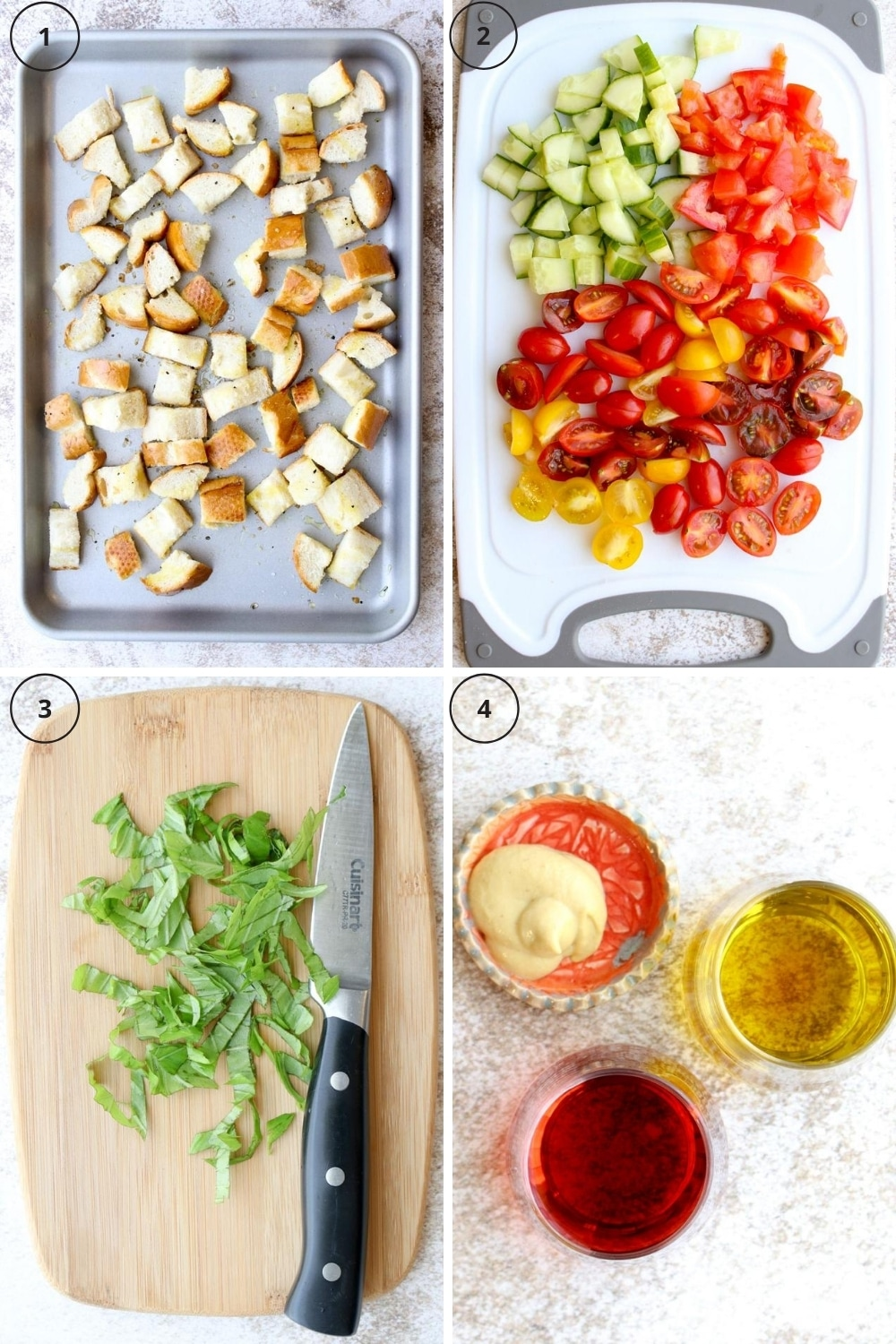 photo collage showing steps to make the bread salad