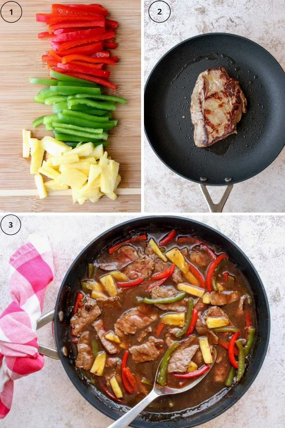 Photo of the 3 steps to make pepper steak