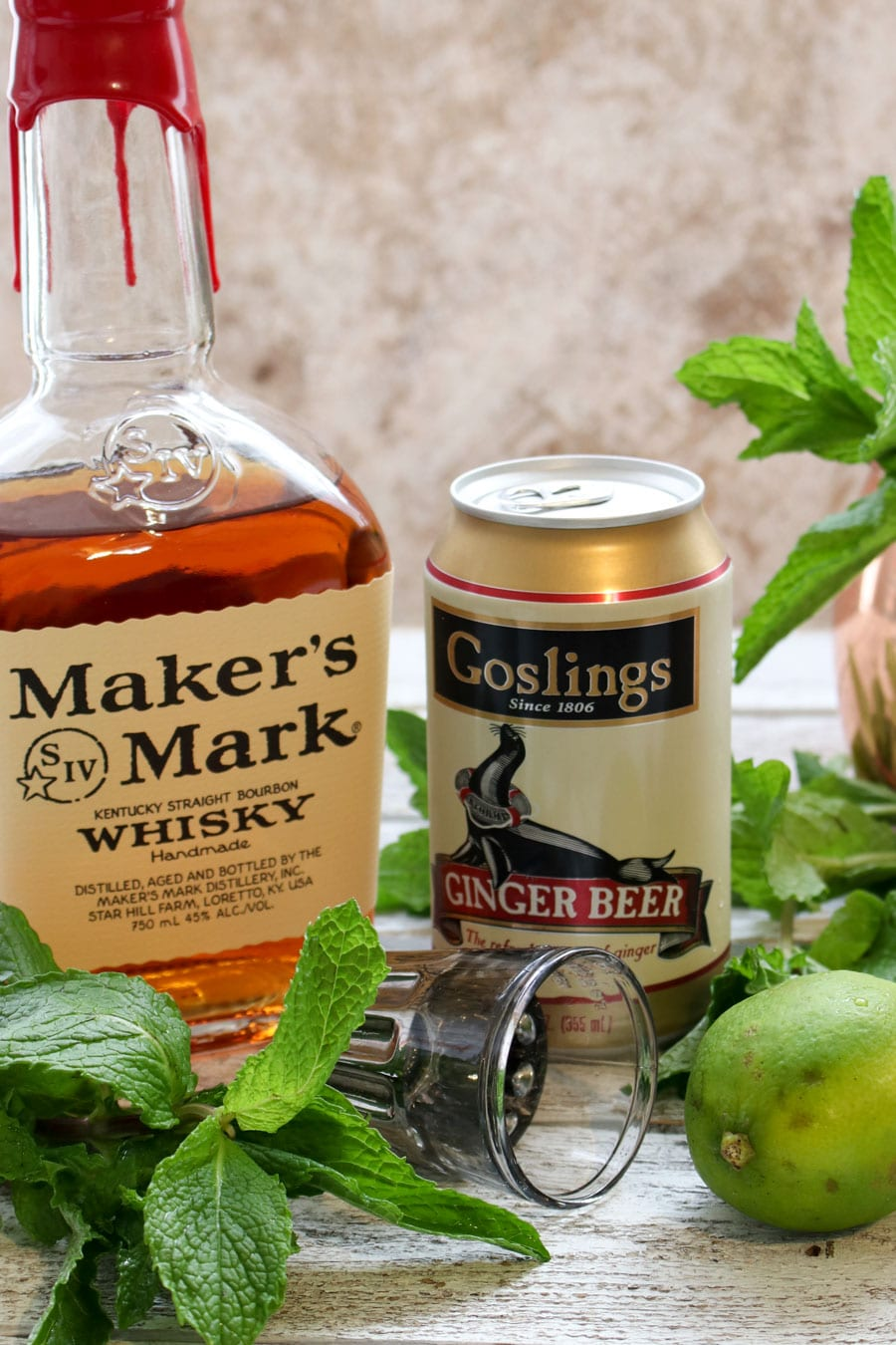 Photo showing ingredients in a Kentucky Mule Cocktail