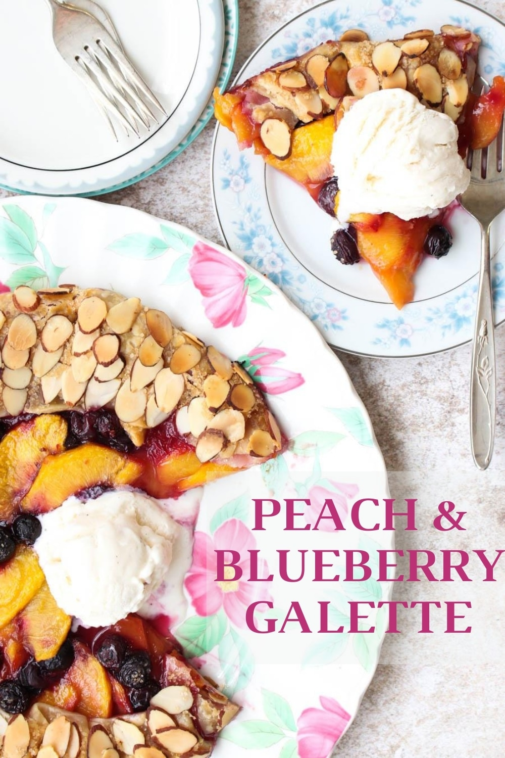 Making a pie is easier than you think. Especially if you make a rustic galette. I've filled this galette with fresh peaches and blueberries and covered the crust with crunchy sliced almonds. Homemade taste without any fuss. via @krazykitchenmom