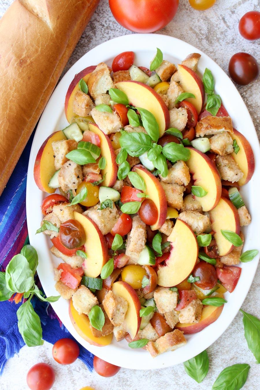 Panzanella Salad on a white platter