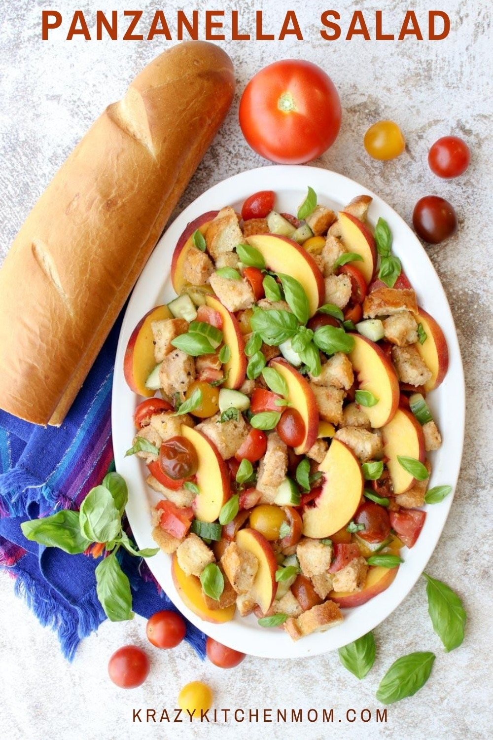 """This is my summertime version of the classic Italian Panzanella Salad. I've added fresh slices of juicy peaches that add another layer of freshness and sweetness. Once you try it, I promise it will become your """"go-to summer salad"""" too! via @krazykitchenmom"""