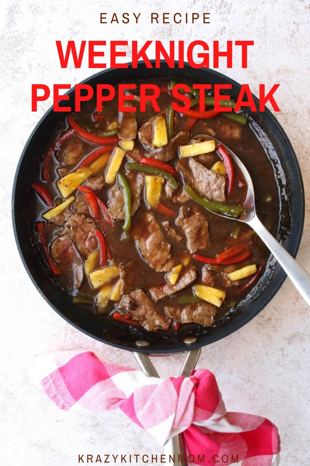 Easy Weeknight Pepper Steak is a fast and hearty way to feed your family. It cooks in minutes but it tastes like it's cooked for hours.  via @krazykitchenmom