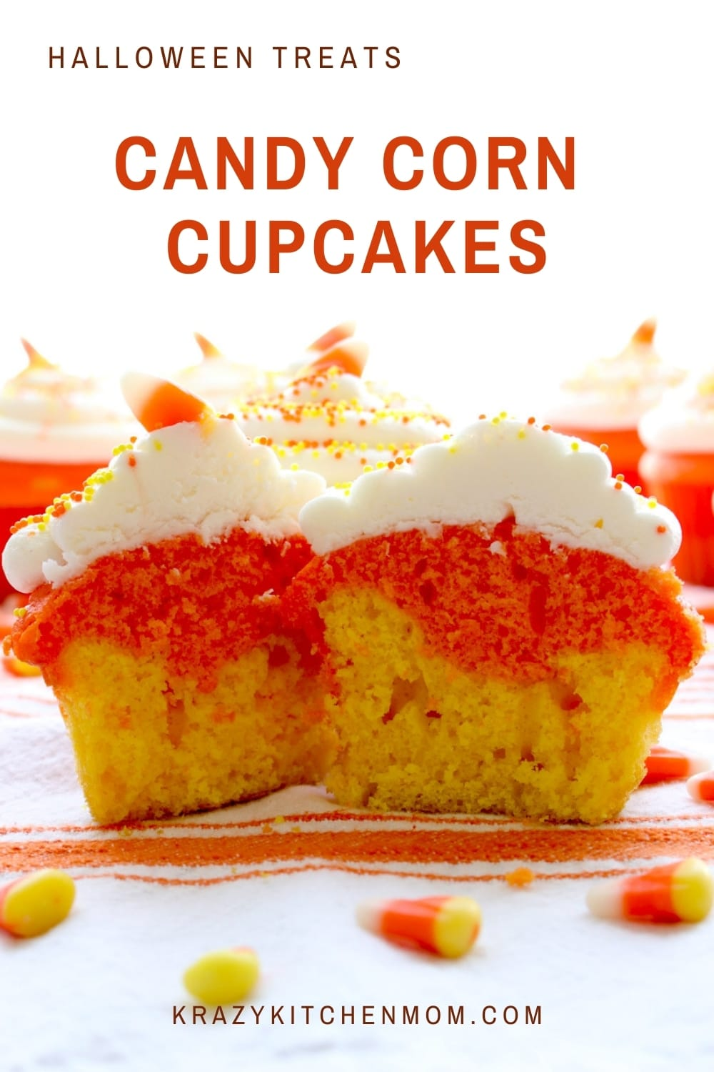 Candy Corn Cupcakes are a fun way to celebrate Halloween and Fall. Just one cake mix, two colors and cream cheese frosting and everyone loves them. via @krazykitchenmom