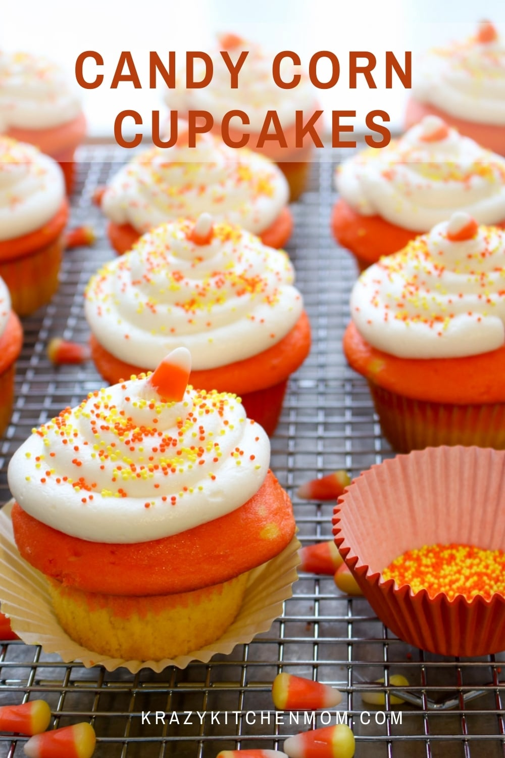 Fun Halloween Cupcake treats made from a box mix and frosted with cream cheese frosting.  via @krazykitchenmom