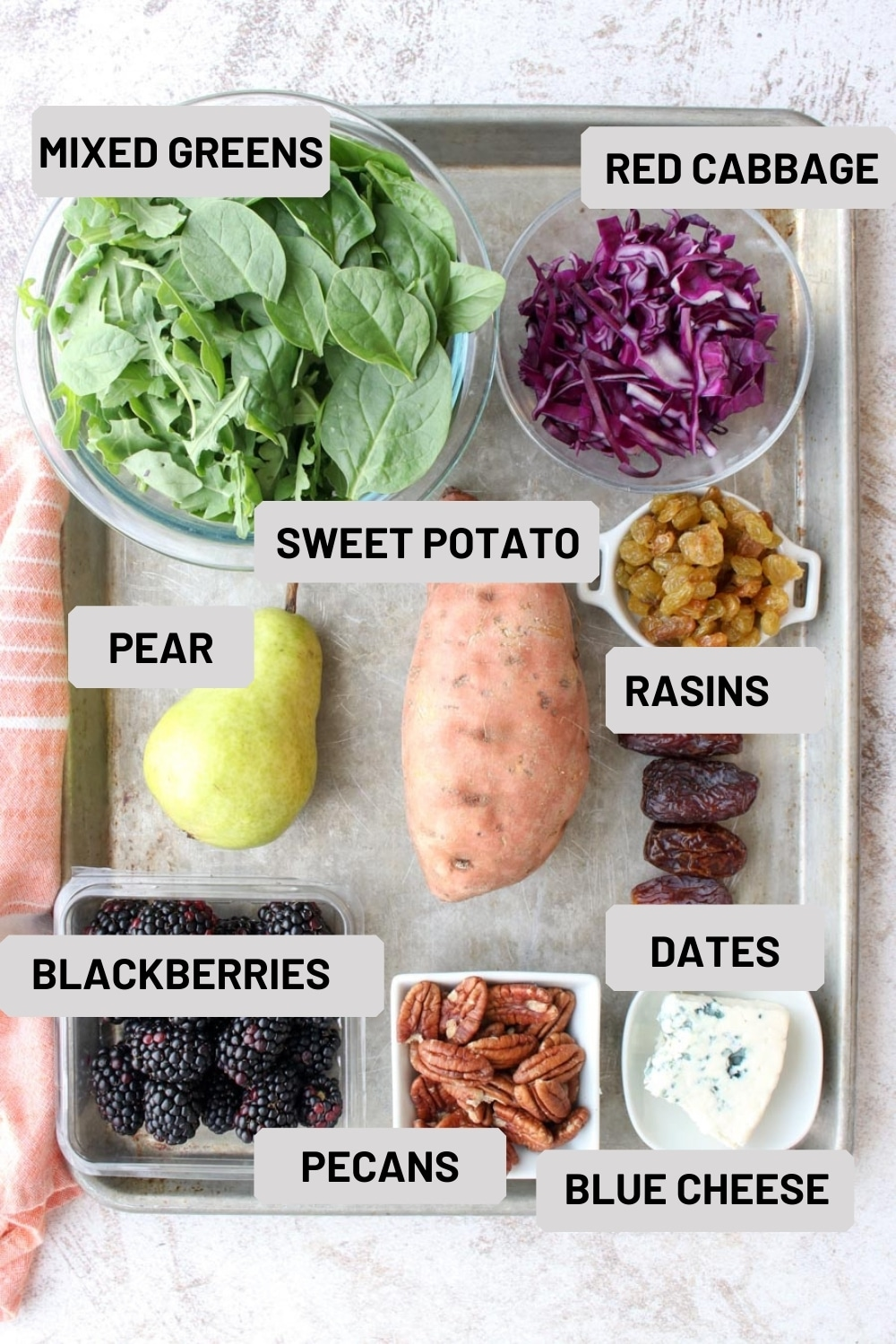 A photo of the ingredients needed to make a fall harvest salad