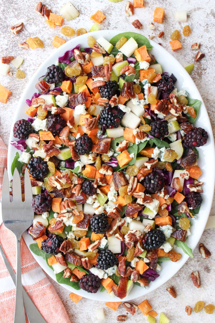 Beautiful platter of colorful fall harvest salad