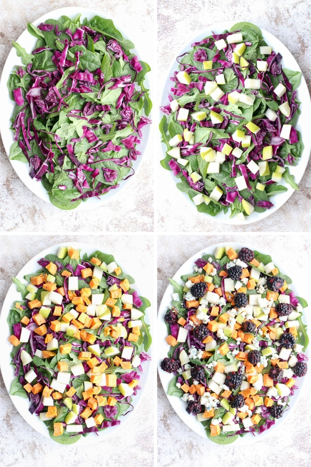 Photo showing four steps to assemble the harvest salad