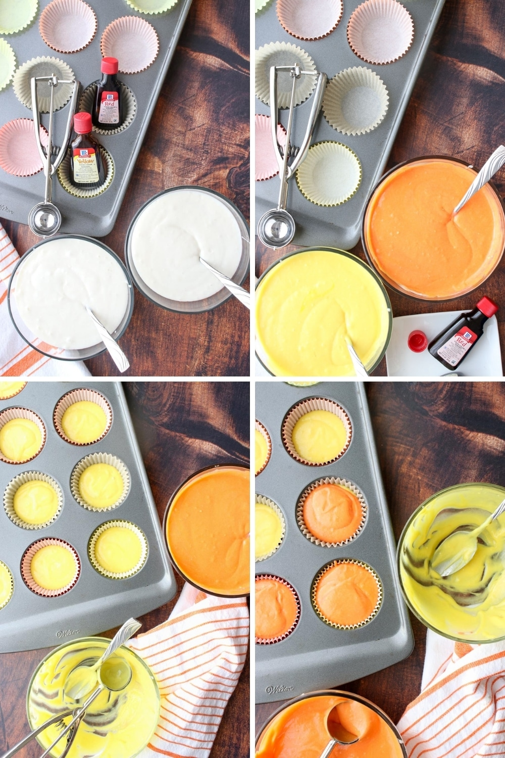 photo showing steps to make candy corn cupcakes
