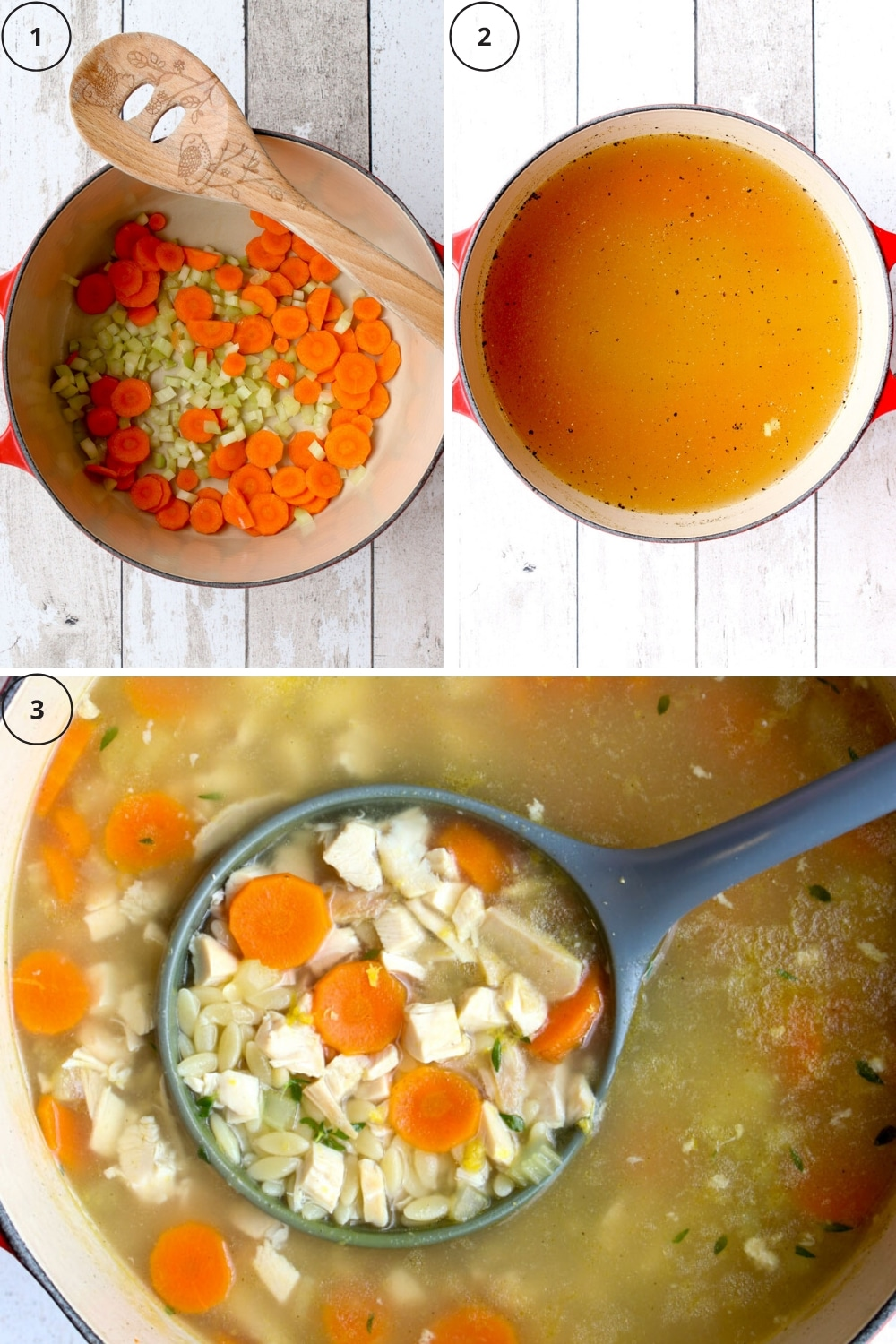 Photo collage showing the three main steps to make Greek lemon orzo soup