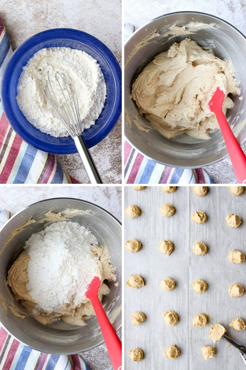 Photo showing the steps to make peanut butter and jelly cookies