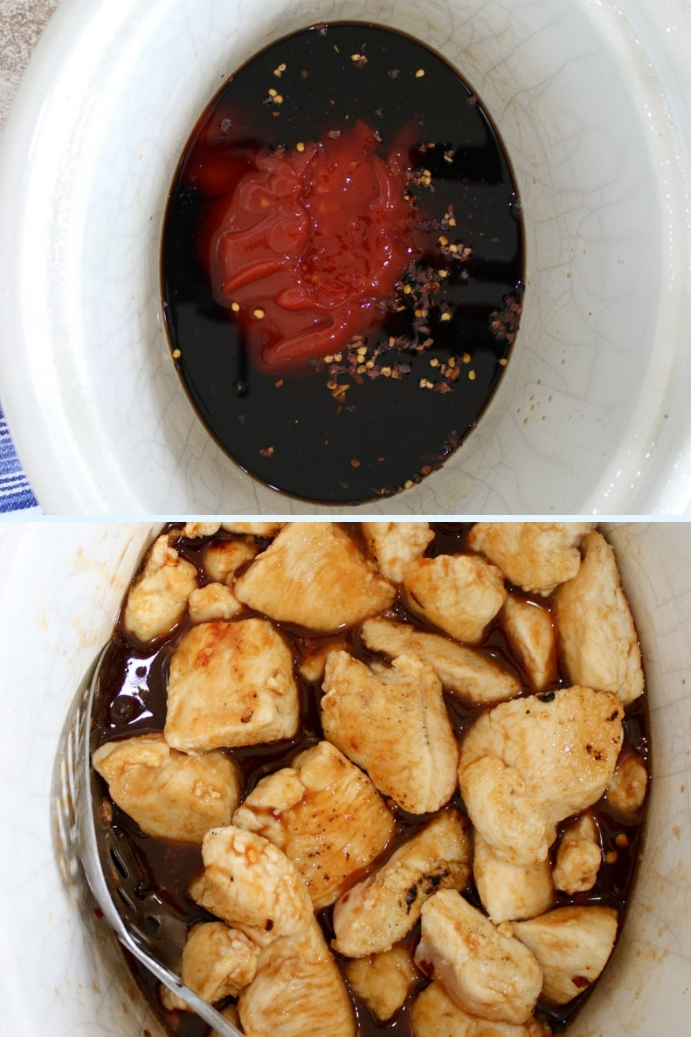 two shots showing inside of crockpot with the cashew chicken sauce