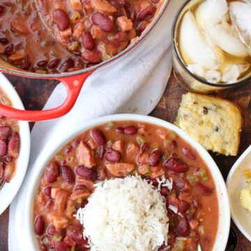A large pot and a bowl of red beans and rice