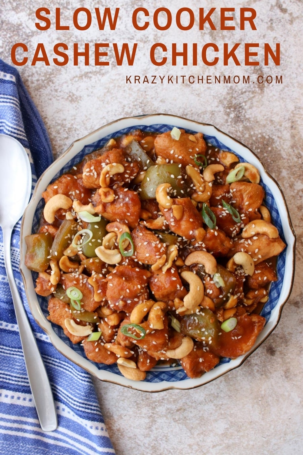 Move over take-out! Slow Cooker Cashew Chicken is the new favorite in town. It's tender, tangy, sweet, and spicy. It has something for everyone. I promise this is one of the best recipes you'll make in your slow cooker all year. via @krazykitchenmom