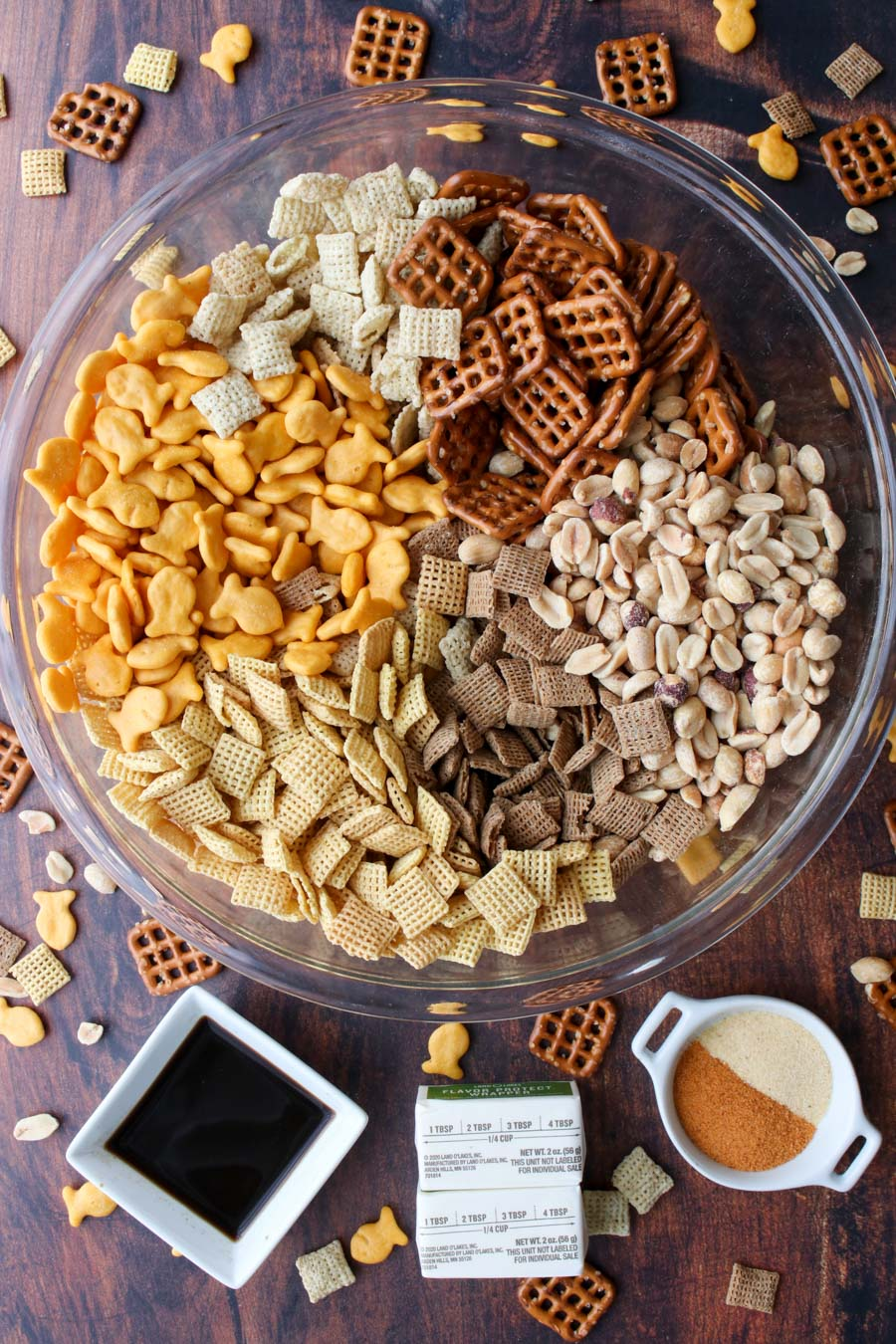 Photo of the ingredients in party mix
