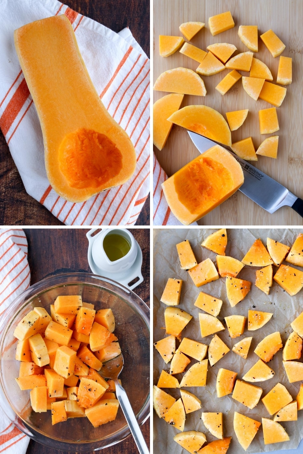 Collage showing first four steps of making squash puree